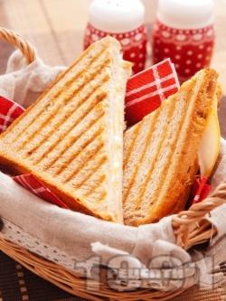 Тостер сандвичи (тост) с пуешко филе и моцарела - снимка на рецептата